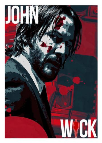 2010's Movie - JOHN WICK art style 3 -  canvas print - self adhesive poster - photo print